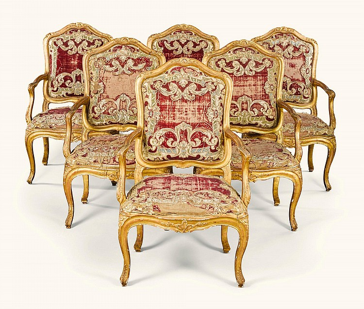 A SET OF SIX ITALIAN CARVED GILTWOOD FAUTEUILS, GENOA, MID-18TH CENTURY |