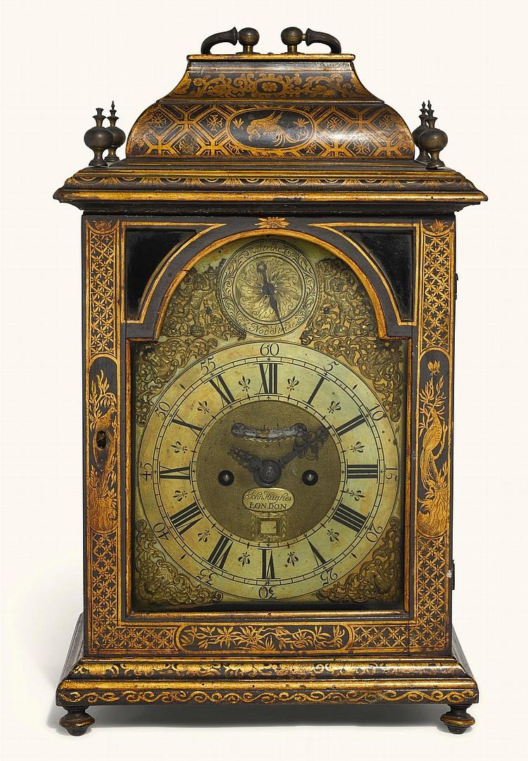 A BLACK JAPANNED TABLE CLOCK, JOHN HUGHES, LONDON, CIRCA 1725 |