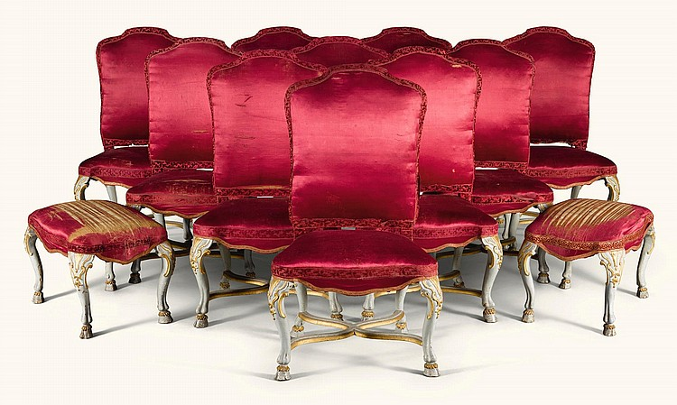 A SET OF TEN ITALIAN PARCEL-GILT PAINTED SIDE CHAIRS WITH TWO STOOLS, PIEDMONT 1730/40 |