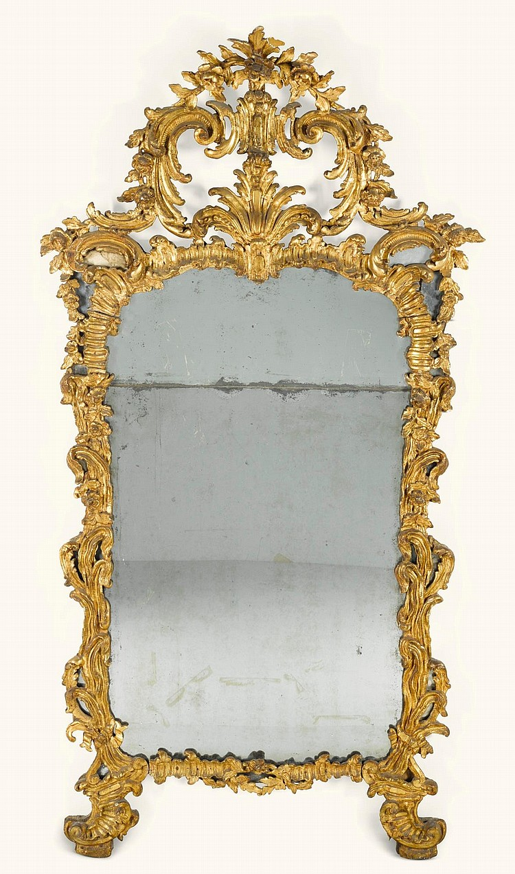 AN ITALIAN CARVED GILTWOOD MIRROR, PIEDMONT MID-18TH CENTURY |