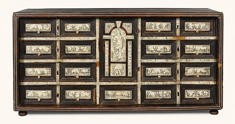 A NORTH ITALIAN IVORY AND EBONY INLAID TABLE CABINET 17TH CENTURY |