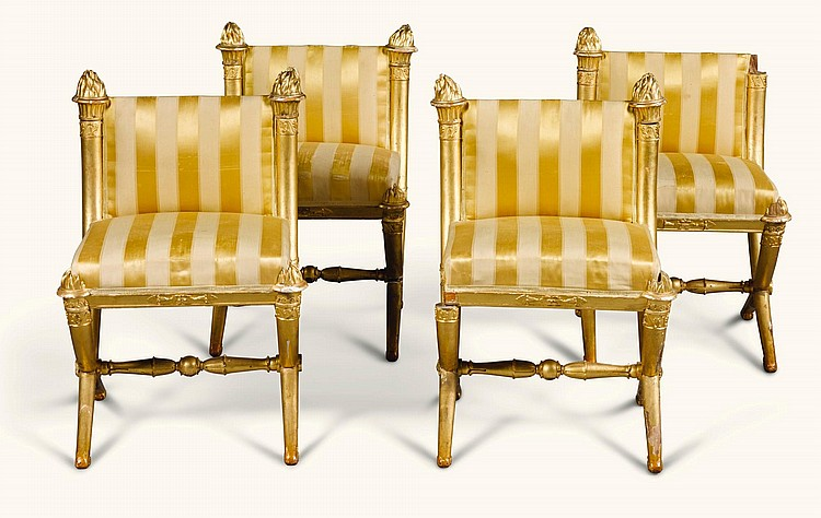 A SET OF FOUR NORTH ITALIAN EMPIRE GILTWOOD CHAIRS EARLY 19TH CENTURY |