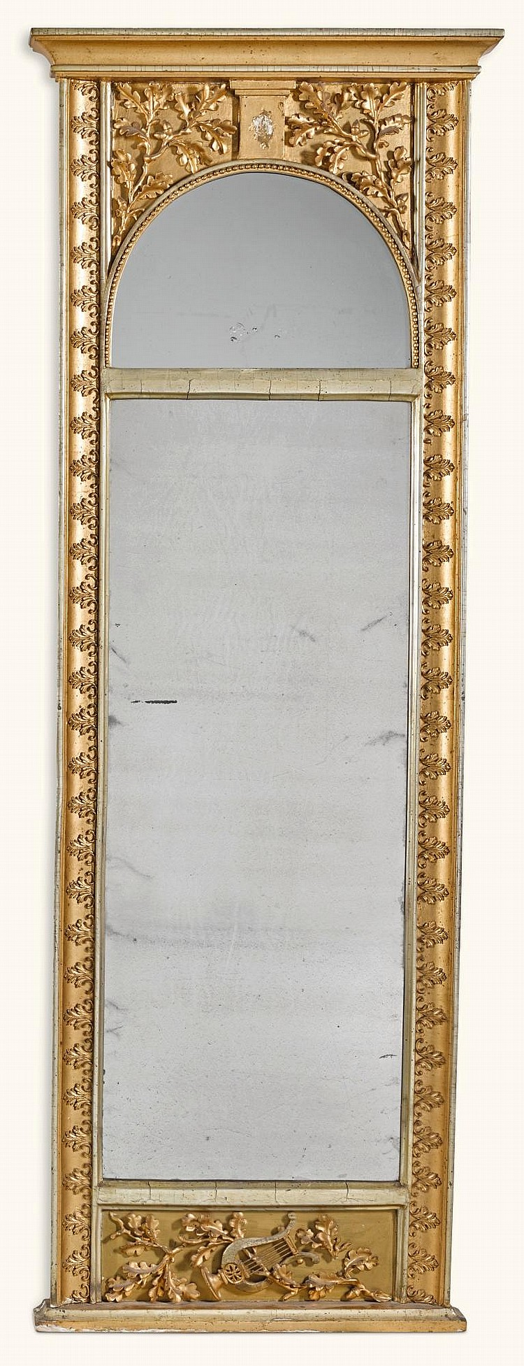 A NORTH GERMAN NEOCLASSICAL CARVED GILTWOOD AND SILVERED MIRROR EARLY 19TH CENTURY |