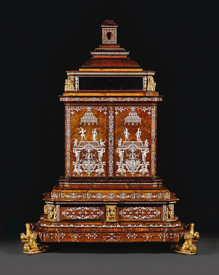A GERMAN IVORY INLAID AND WALNUT VENEERED TABLE CABINET, ATTRIBUTED TO FERDINAND PLITZNER OR TO HEINRICH LUDWIG ROHDE, POMMERSFELDEN OR MAINZ CIRCA 1725 |