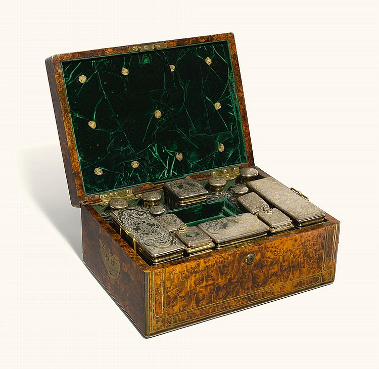 A WILLIAM IV BRASS-INLAID STAINED FIELD MAPLE DRESSING CASE, CHARLES REILY & GEORGE STORER, LONDON, 1833 |