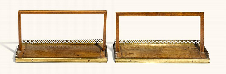 A PAIR OF REGENCY BRASS MOUNTED ROSEWOOD AND SATINWOOD BOOK-CARRIERS, CIRCA 1815 |