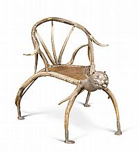 A RARE INDIAN SILVER-MOUNTED STAG ANTLER CHAIR, 19TH CENTURY, PROBABLY KASHMIR OR PUNJAB  |