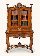 A SCOTTISH EARLY VICTORIAN CARVED WALNUT DISPLAY CABINET-ON-STAND, MID-19TH CENTURY, ATTRIBUTED TO JOHN TAYLOR & SONS OF EDINBURGH |