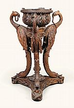 AN ANGLO-INDIAN CARVED HARDWOOD JARDINIÈRE, BOMBAY, MID-19TH CENTURY |