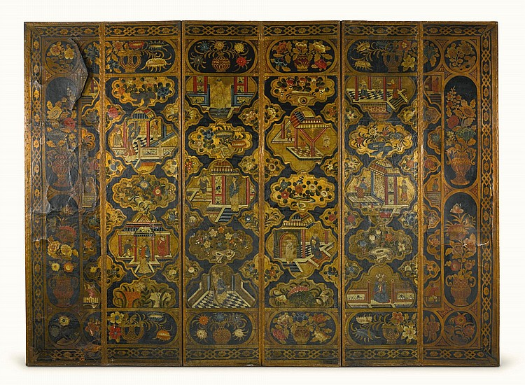 A NORTH GERMAN POLYCHROME DECORATED LEATHER SIX-FOLD SCREEN, MID-18TH CENTURY |