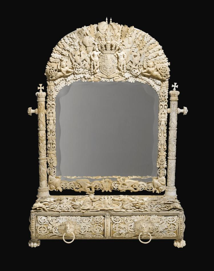 A FRENCH IVORY AND BONE DRESSING MIRROR, DIEPPE,<BR /><BR /> MID-19TH CENTURY |