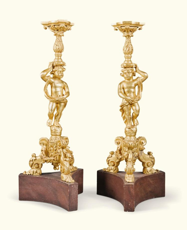 A PAIR OF CHARLES II CARVED GILTWOOD TORCHÈRES, LATE 17TH CENTURY |