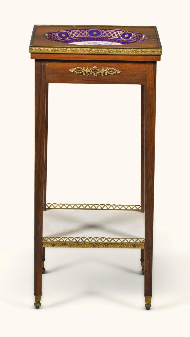 A GILT-BRONZE MOUNTED ROSEWOOD AND SÈVRES INSET OCCASIONAL TABLE EARLY 19TH CENTURY  