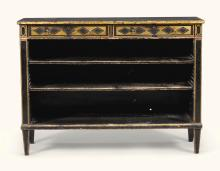 A REGENCY BLACK AND GILT JAPANNED OPEN BOOKCASE, CIRCA 1820 |
