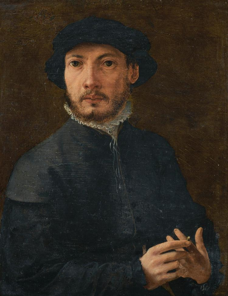 ANTWERP SCHOOL, CIRCA 1540 | Portrait of a bearded gentleman, half-length, wearing a ruff and a black hat, holding a ring on his left hand