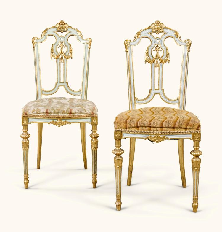 A PAIR OF RUSSIAN NEOCLASSICAL STYLE CARVED, PAINTED AND GILT SIDE CHAIRS, PROBABLY BY THE GAMBS WORKSHOP, ST PETERSBURG CIRCA 1846 |