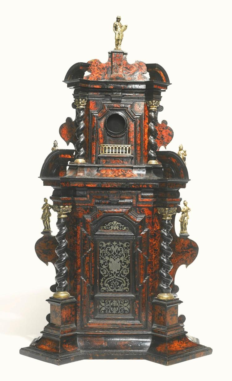 AN ITALIAN GILT-BRONZE MOUNTED BURR WALNUT AND EBONISED TABERNACLE<BR /><BR />  PROBABLY ROME, EARLY 18TH CENTURY |