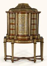 A SOUTH GERMAN BAROQUE PEWTER, BRASS AND TORTOISESHELL BOULLE MARQUETRY CABINET ON STAND, MUNICH OR VIENNA CIRCA 1710 |