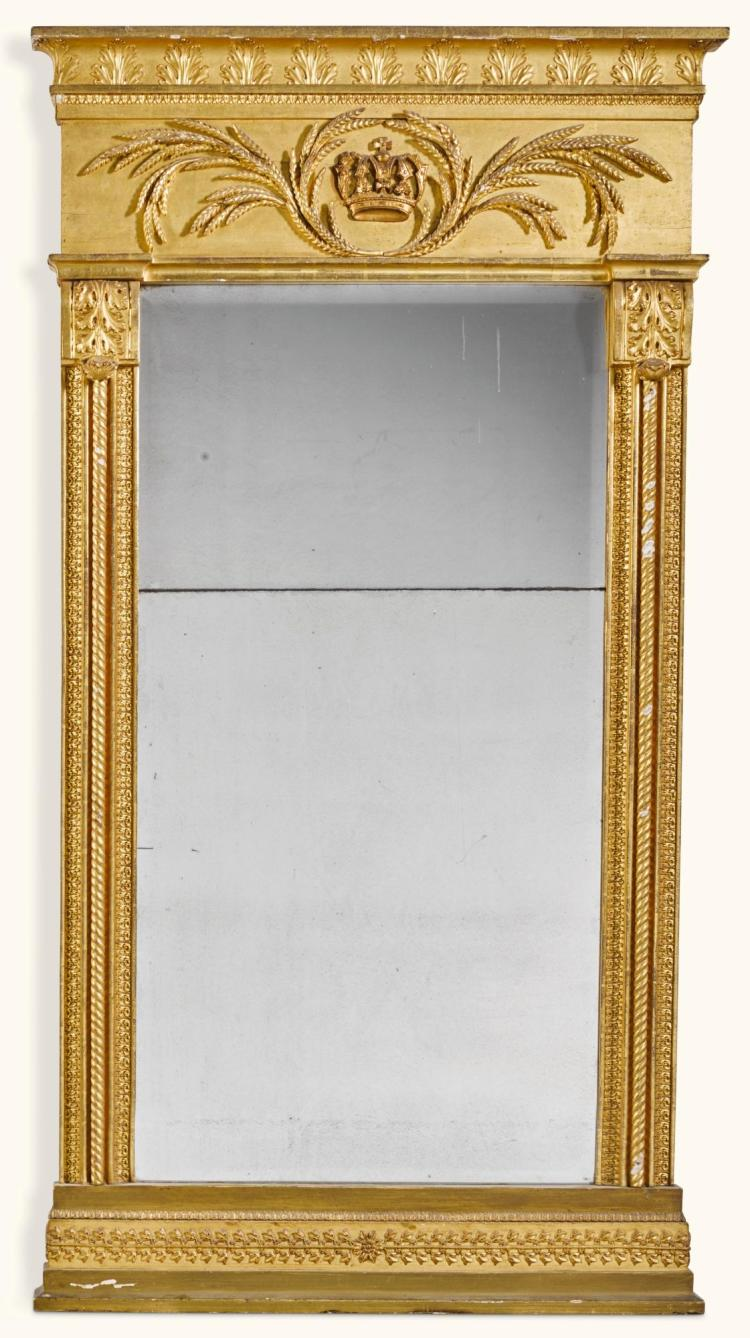 A NORTH GERMAN NEOCLASSICAL CARVED GILTWOOD MIRROR BY GEORG ANDREAS STEINHÄUSER, BREMEN, EARLY 19TH CENTURY |