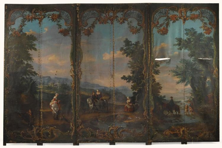 A GERMAN ROCOCO STYLE PAINTED SCREEN 19TH CENTURY |