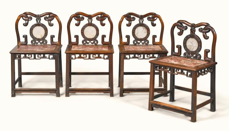 A SET OF FOUR CHINESE CARVED HUANG-HUALI AND MARBLE INLAID CHAIRS, MID-19TH CENTURY |