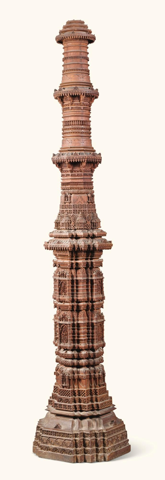 A LARGEANGLO-INDIAN CARVED TEAK MODEL OF A MINARET, PROBABLY FROM THE RANI SIPRI MOSQUE, AHMEDABAD, GUJARAT, MID-19TH CENTURY |