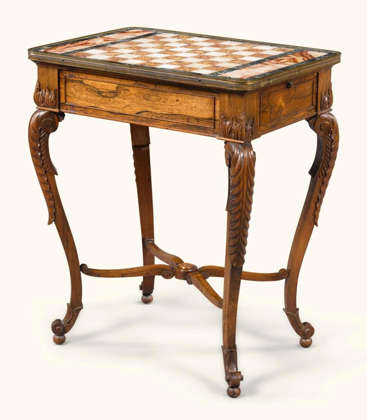 A WILLIAM IV ROSEWOOD GAMES TABLE, CIRCA 1835 |