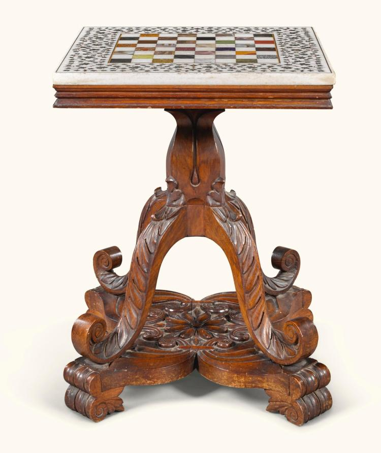 AN ANGLO-INDIAN HARDWOOD AND SPECIMEN MARBLE GAMES TABLE, BHARATPUR, RAJASTAN, CIRCA 1850 |