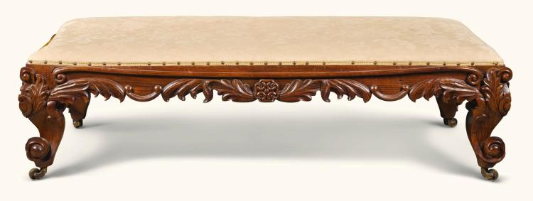 A LARGE ANGLO-INDIAN CARVED ROSEWOOD STOOL, MID-19TH CENTURY |