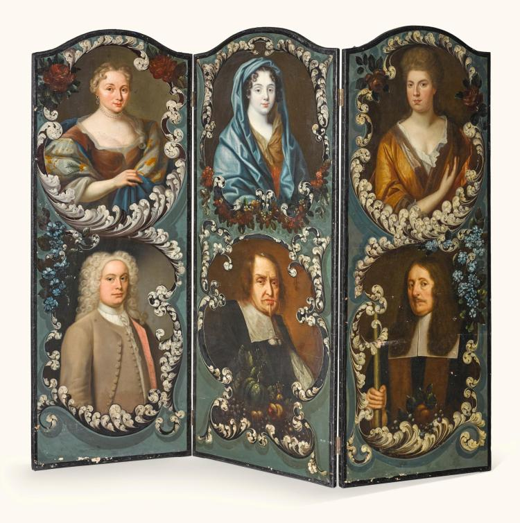 A THREE-FOLD PAINTED CANVAS SCREEN, ENGLISH SCHOOL, 18TH CENTURY AND LATER |