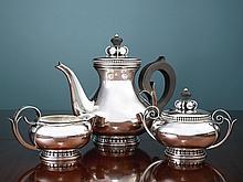 AN AMERICAN SILVER THREE-PIECE TEA SET, ALPHONSE DES LA PAGLIA FOR INTERNATIONAL SILVER CO., MERIDEN, CT, 1952-53 |