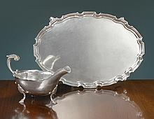 AMERICAN SILVER COLONIAL REVIVAL SALVER AND SAUCE BOAT, WILLIAM B. MEYERS CO, NEWARK, AND WILLIAM G. DEMATTEO, BERGENFELD, NJ, CIRCA 1930-40 |