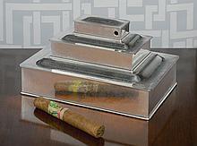 AN AMERICAN SILVER MODERNIST THREE-TIER CIGAR AND CIGARETTE BOX, JOHN CHATTELLIER, NEWARK, NJ, RETAILED BY TIFFANY & CO., CIRCA 1925 |