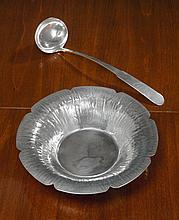 AN AMERICAN ARTS & CRAFTS SILVER BOWL AND LADLE, WILLIAM WALDO DODGE, JR., ASHEVILLE, NC, 1930 |