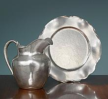 AN AMERICAN SILVER ARTS & CRAFTS PITCHER AND TRAY, CLEMENS FRIEDELL, PASADENA, CA, CIRCA 1915 |