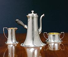 AN AMERICAN SILVER ARTS & CRAFTS THREE-PIECE COFFEE SET, NEVIUS COMPANY, NEW YORK, CIRCA 1905 |