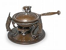 AN AMERICAN COPPER AND SILVER CHAFING DISH, JOSEPH HEINRICH'S, NEW YORK AND PARIS, CIRCA 1910 |