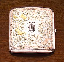 AN AMERICAN SILVER AND THREE-COLOR GOLD FOXHUNTING CIGARETTE CASE, GORHAM MFG. CO., PROVIDENCE, RI, CIRCA 1890-1900 |