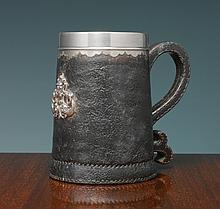 AN AMERICAN SILVER-MOUNTED BLACK JACK, GORHAM MFG. CO., PROVIDENCE, RI, CIRCA 1895 |