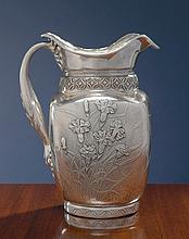 AN AMERICAN SILVER AND COPPER JAPANESE STYLE PITCHER, WHITING MFG. CO., NEW YORK, CIRCA 1883 |