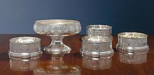 A SET OF FOUR AMERICAN SILVER LARGE WINE COASTERS, WHITING MFG. CO., NEW YORK, CIRCA 1880 |