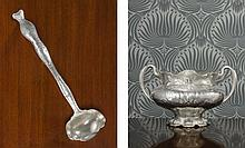 AN AMERICAN SILVER ART NOUVEAU TWO-HANDLED PUNCH BOWL AND MATCHING LADLE, MARTELÉ, GORHAM MFG. CO., PROVIDENCE, RI, RETAILED BY SPAULDING & CO., CHICAGO, 1901 AND 1902 |