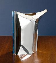 AMERICAN SILVER AND GLASS WATER PITCHER, UBALDO VITALI, MAPLEWOOD, NJ, 1988 |