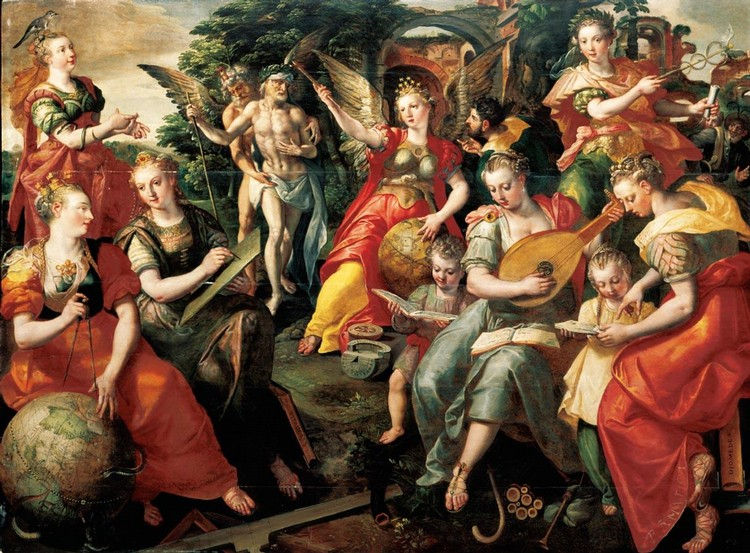 THE PROPERTY OF A LADY MAERTEN DE VOS ANTWERP 1532 - 1603 ALLEGORY OF THE SEVEN LIBERAL ARTS