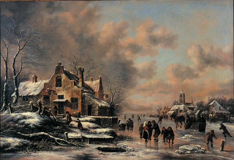 f - KLAES MOLENAER HAARLEM 1630 - 1676 A WINTER LANDSCAPE WITH FIGURES SKATING ON A FROZEN RIVER