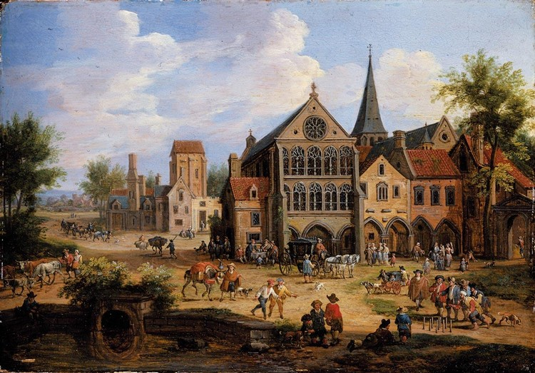 PIETER BOUT BRUSSELS 1658(?) - 1719 A CROWDED TOWN SCENE WITH PEASANTS PLAYING SKITTLES IN FRONT