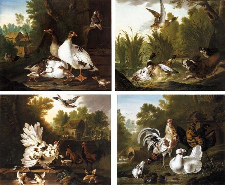 PIETER CASTEELS III ANTWERP 1684 - 1749 RICHMOND THREE SPANIELS STARTLING A GROUP OF DUCKS IN A