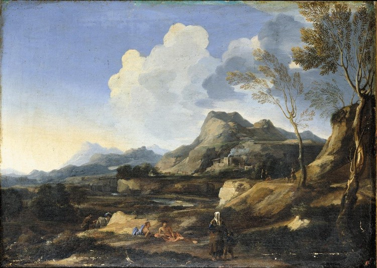 GASPARD DUGHET, CALLED GASPARD POUSSIN ROME 1615 - 1675 AN ITALIANATE LANDSCAPE WITH A RIVER AND