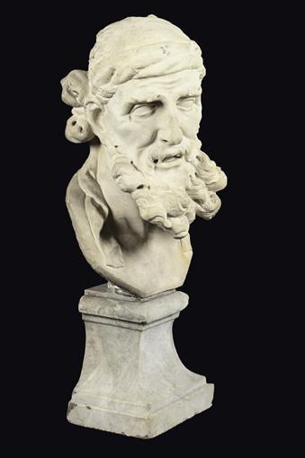 BUSTE DE PHILOSOPHE GREC ITALIE, FIN XVIIE / DÉBUT DU XVIIIE SIÈCLE, ATTRIBUÉ À L'ATELIER D'ORAZIO MARINALI (1643-1720)