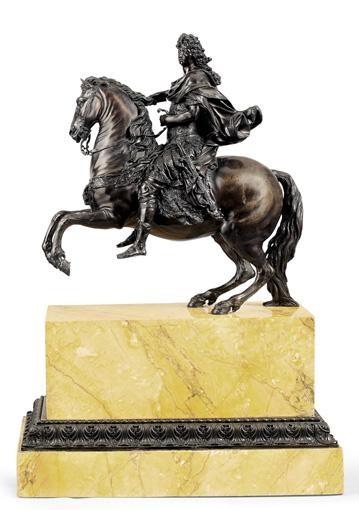 IMPORTANTE STATUE ÉQUESTRE REPRÉSENTANT LOUIS XIV FRANCE, VERS 1690-94, ATTRIBUÉE À MARTIN VAN DEN BOGAERTS, DIT DESJARDINS (1637-1694)